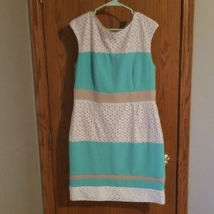 White lace, cream and turquoise color blocked dres